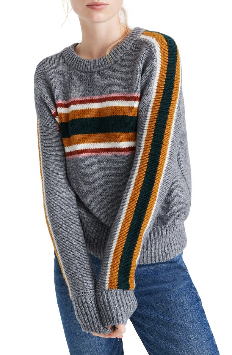 MADEWELL Striped Heath Pullover Sweater, Main, color, 020