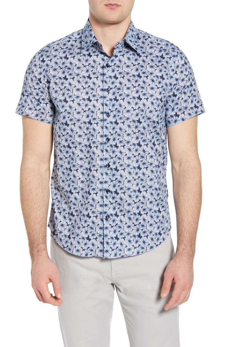 STONE ROSE Floral Short Sleeve Button-Up Shirt, Main, color, 411
