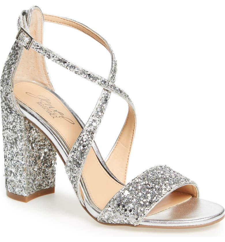 JEWEL BADGLEY MISCHKA Cook Block Heel Glitter Sandal, Main, color, SILVER LEATHER