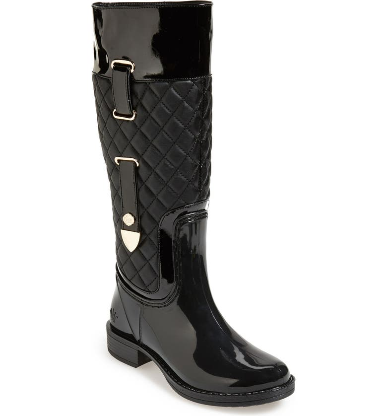 POSH WELLIES 'Quizz' Quilted Tall Rain Boot, Main, color, 001