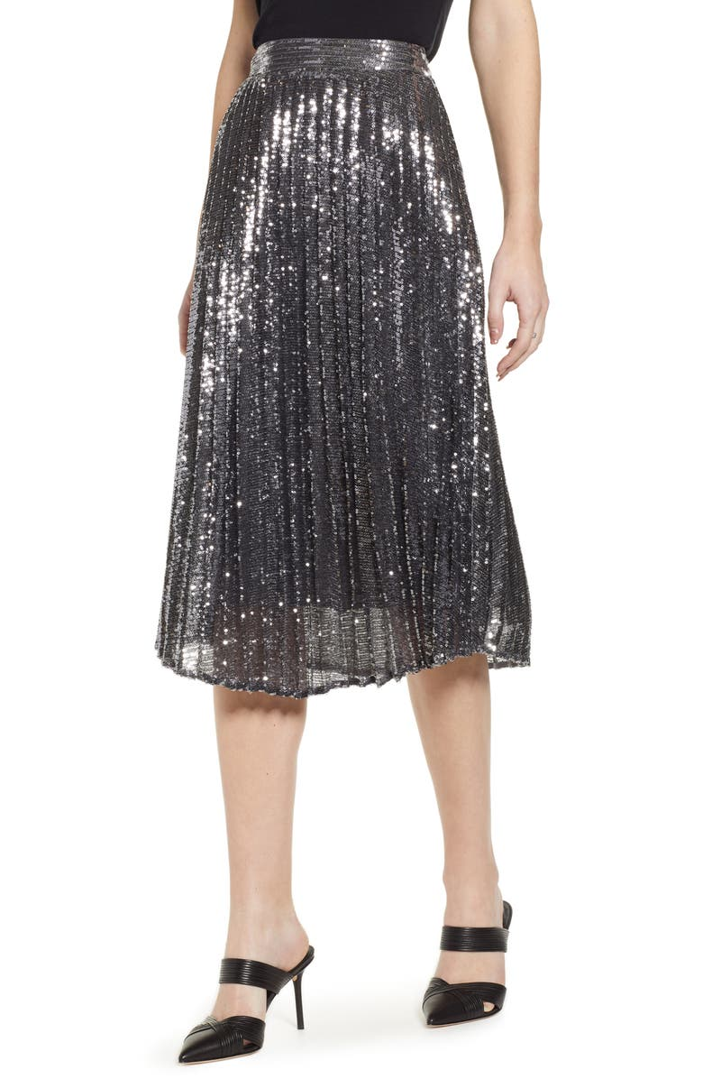 CHELSEA28 Sequin Skirt, Main, color, Silver