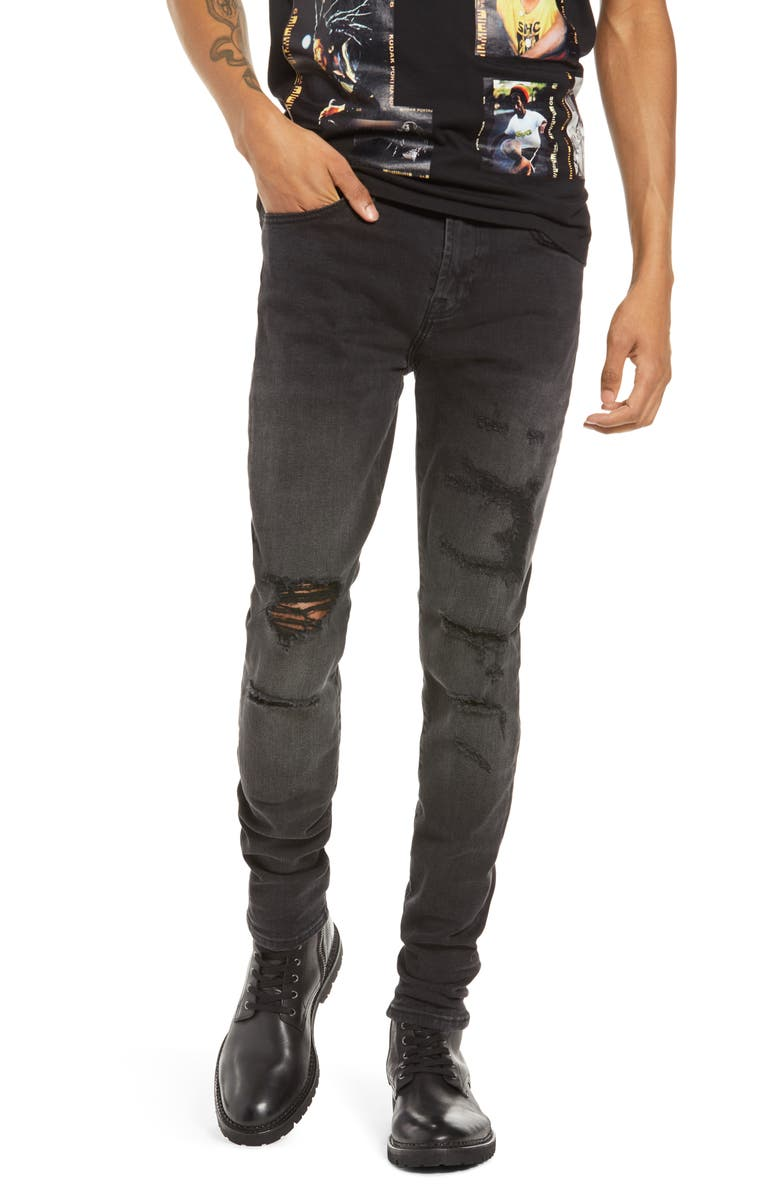 CULT OF INDIVIDUALITY Punk Men's Ripped Super Skinny Jeans, Main, color, JET