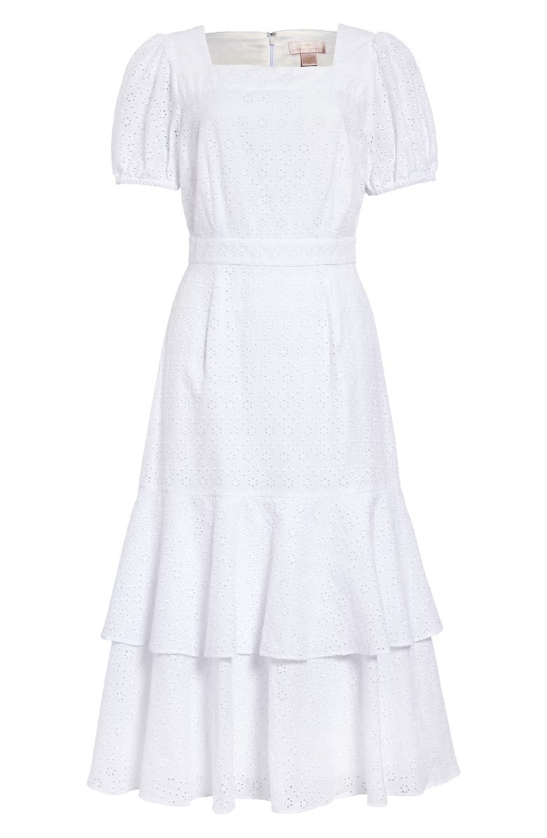 RACHEL PARCELL Tiered Eyelet Midi Dress, Main, color, 100
