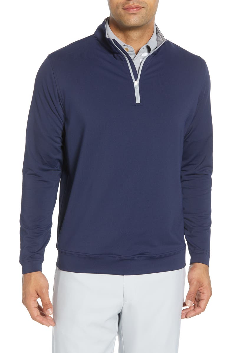 PETER MILLAR Perth Quarter Zip Performance Pullover, Main, color, NAVY