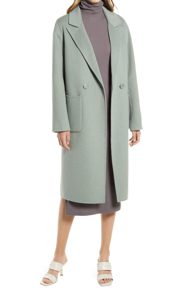 HALOGEN<SUP>®</SUP> Double Face Wool Coat, Main, color, GREEN BERYL