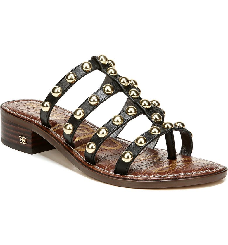 SAM EDELMAN Juniper Studded Gladiator Slide Sandal, Main, color, BLACK LEATHER