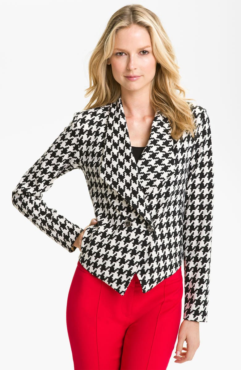 ANNE KLEIN Houndstooth Jacket, Main, color, 001