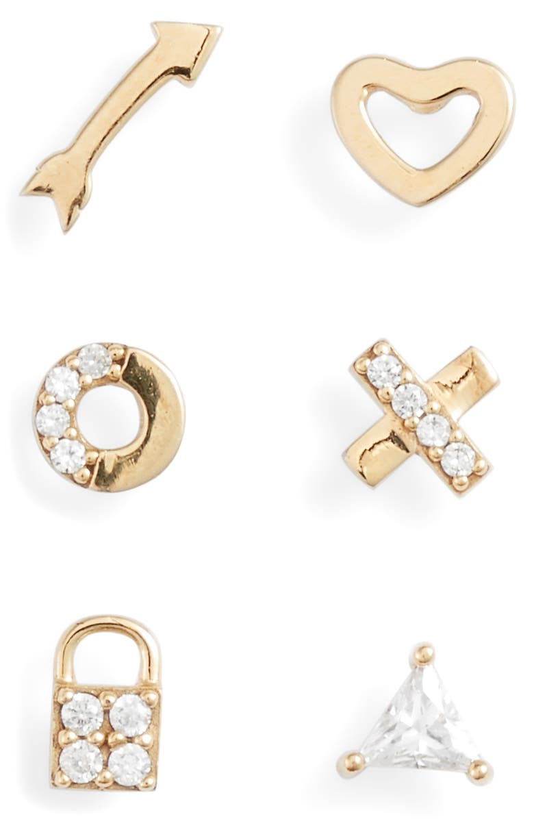 NORDSTROM 6-Pack Pavé Cubic Zirconia Stud Earrings, Main, color, CLEAR- GOLD