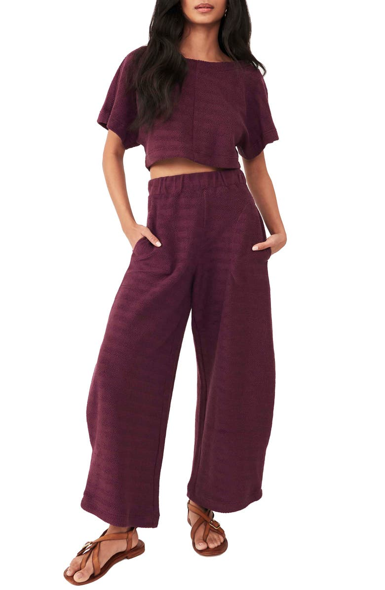 FREE PEOPLE Changing Tides Cotton Crop Top & Pants, Main, color, THUNDERCLAP