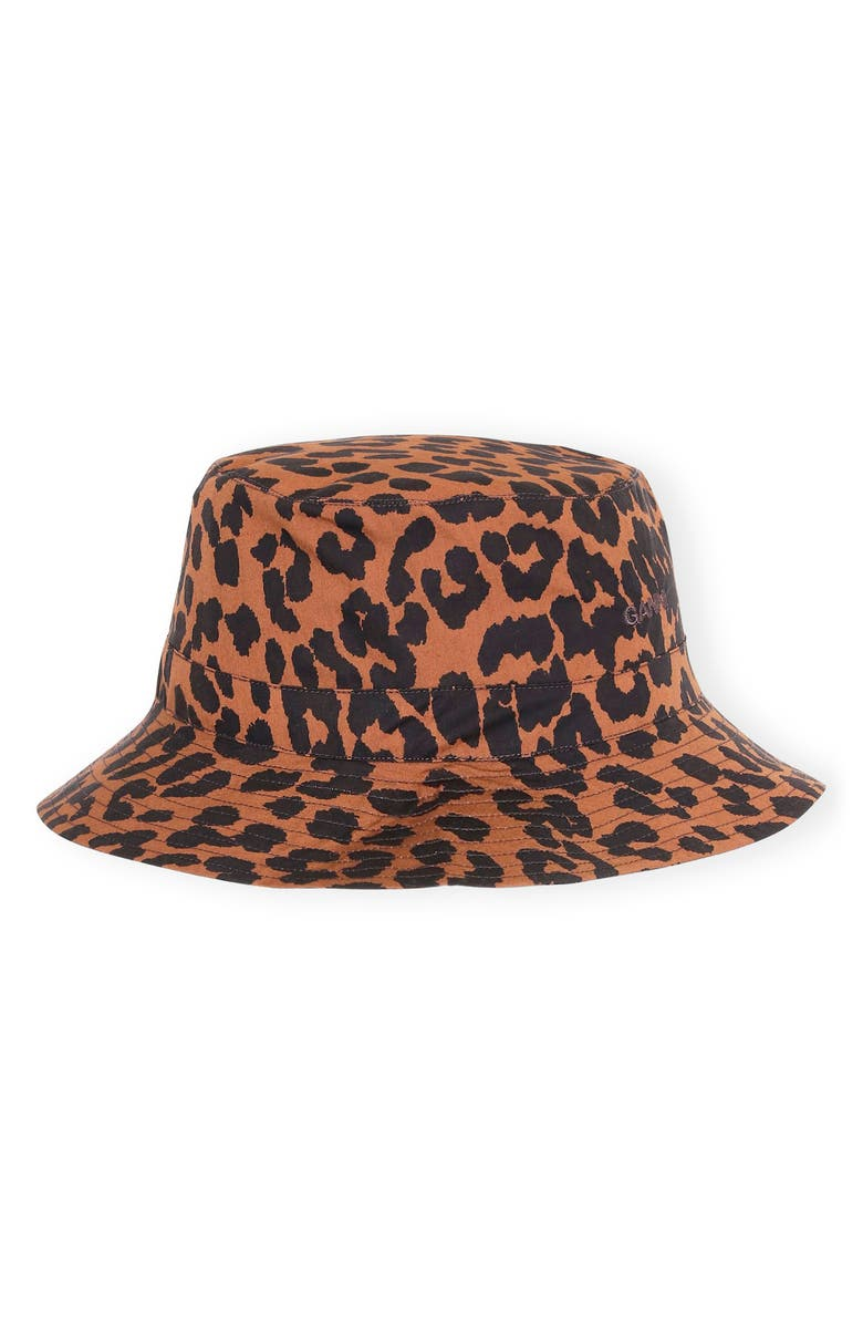 GANNI Print Poplin Bucket Hat, Main, color, TOFFEE