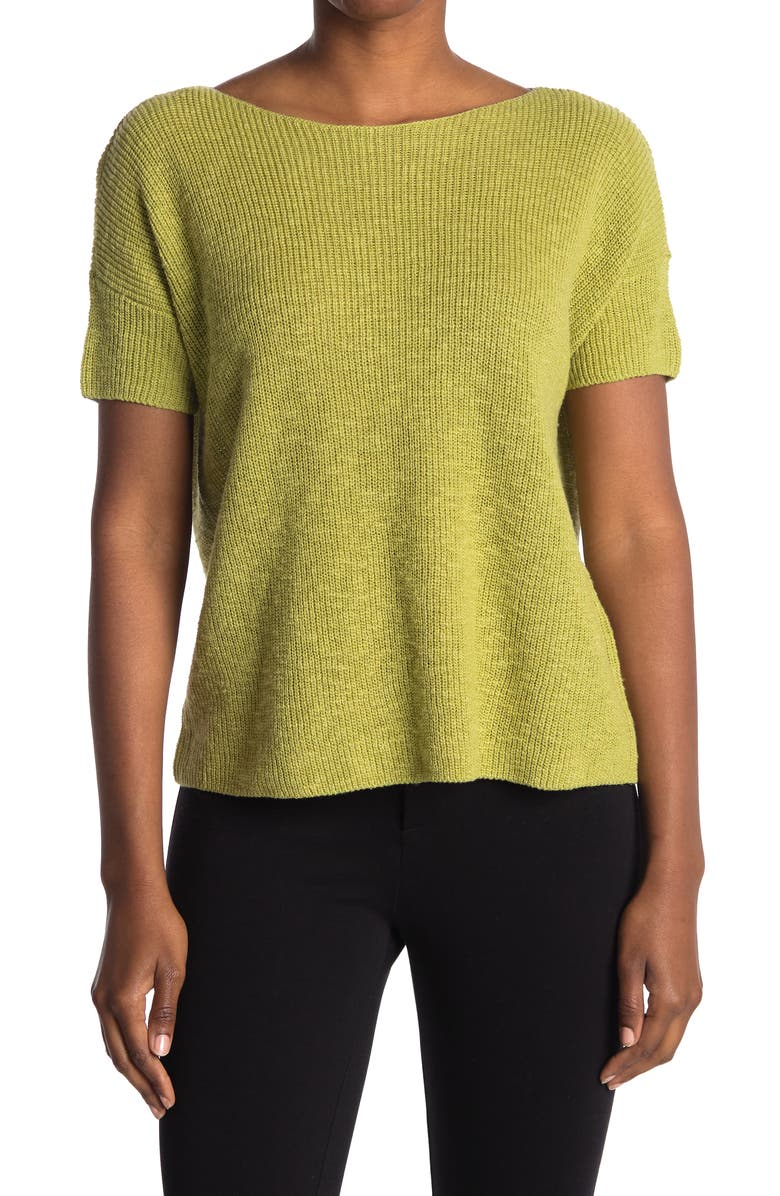 EILEEN FISHER Jewel Neck Boxy Organic Cotton & Linen Sweater, Main, color, FIELD