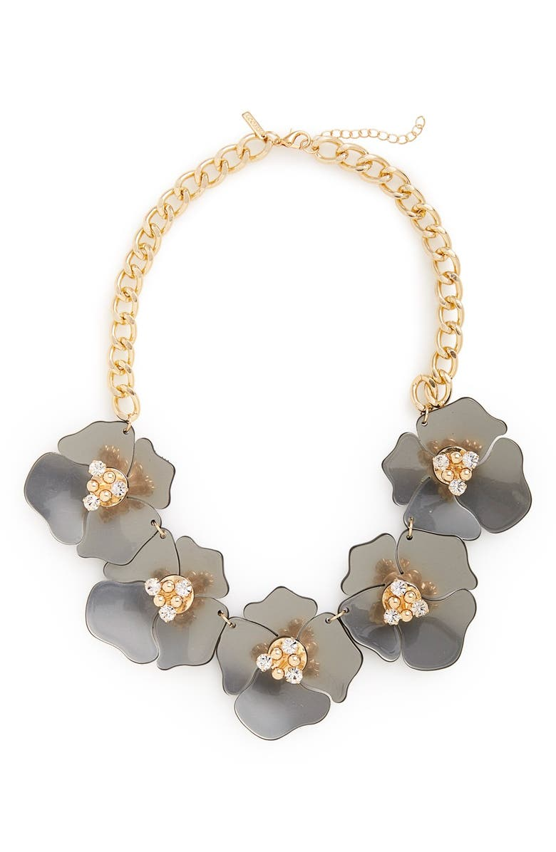 TOPSHOP Large Flower Collar Necklace, Main, color, 020