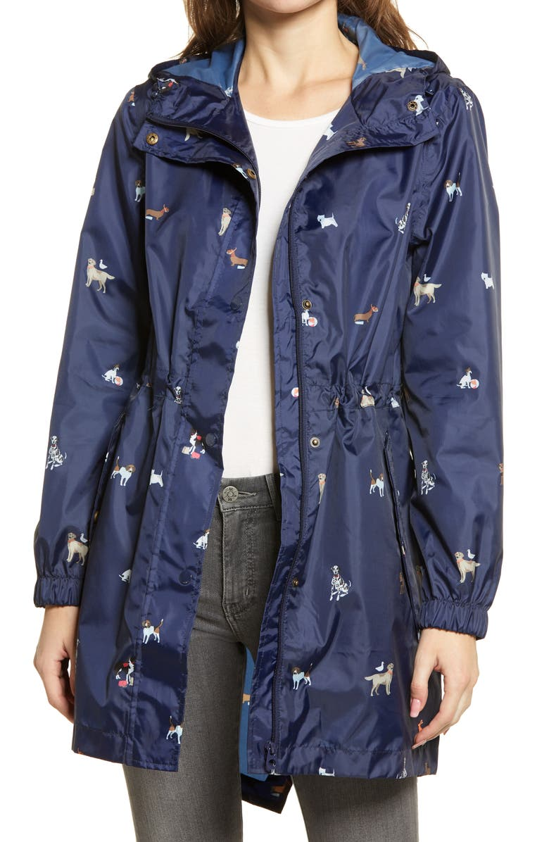 JOULES Golightly Print Raincoat, Main, color, NAVY DOGS