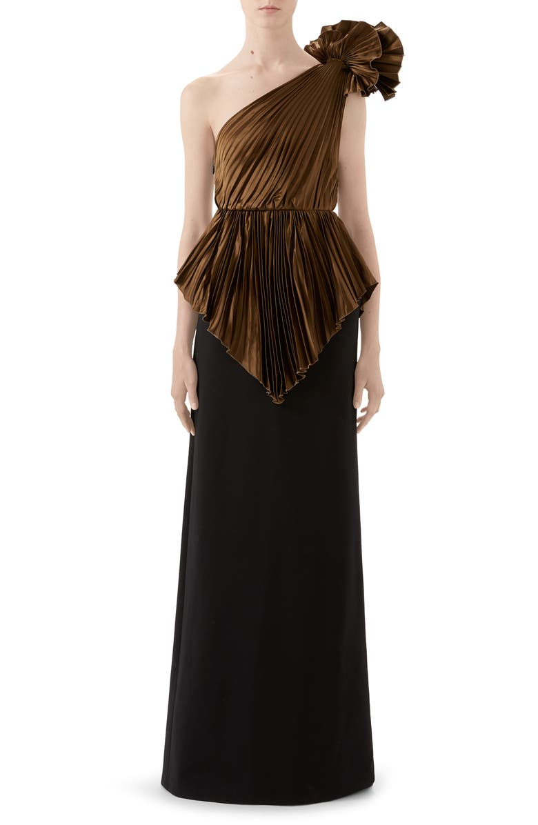 GUCCI Plissé One-Shoulder Gown, Main, color, 230