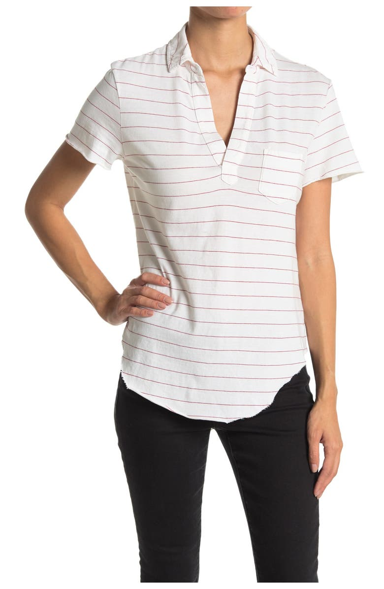 FRANK AND EILEEN Striped Curved Hem Jersey Polo, Main, color, WHITE DOUBLE DECKER RED STRIPE