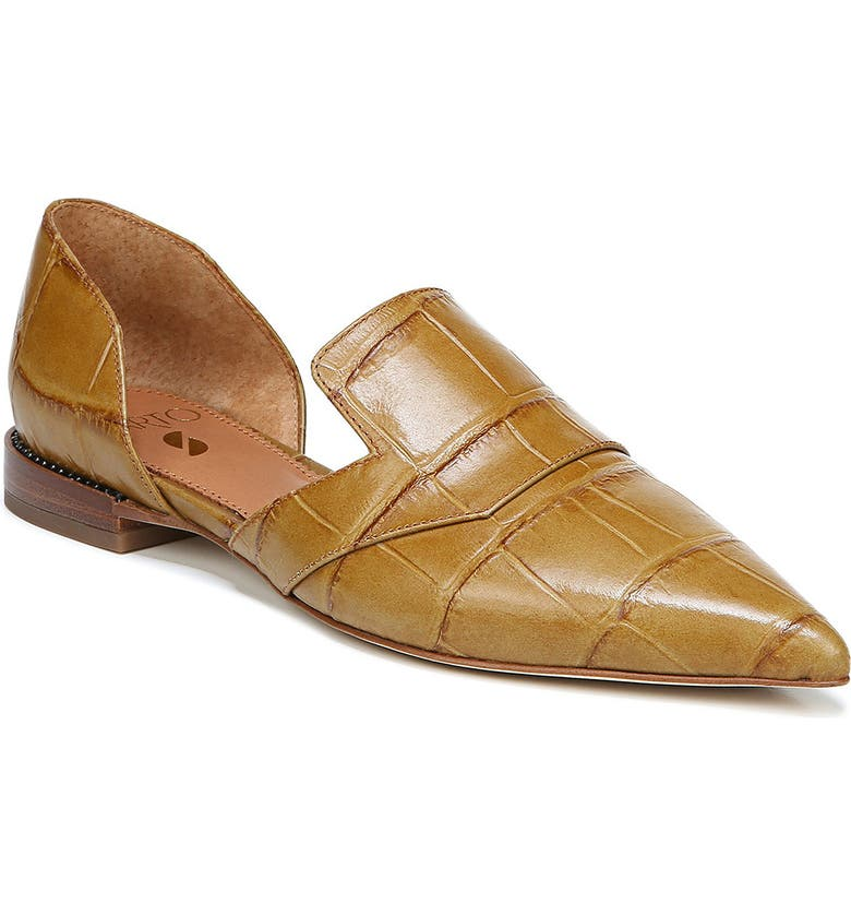 SARTO BY FRANCO SARTO Toby Pointed Toe Flat, Main, color, BEIGE CROCO PRINT LEATHER