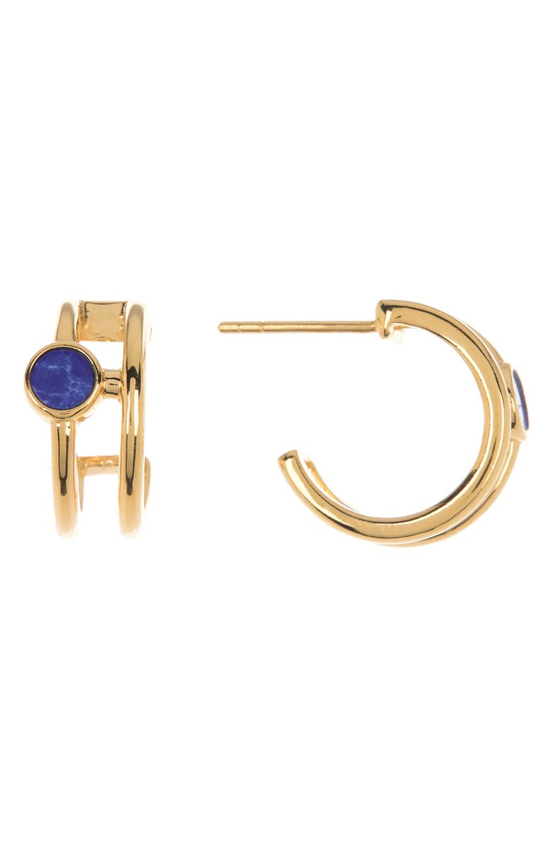 ARGENTO VIVO STERLING SILVER 18K Gold Plated Sterling Silver Round Stone Double Row Huggie Hoop Earrings, Main, color, GOLD