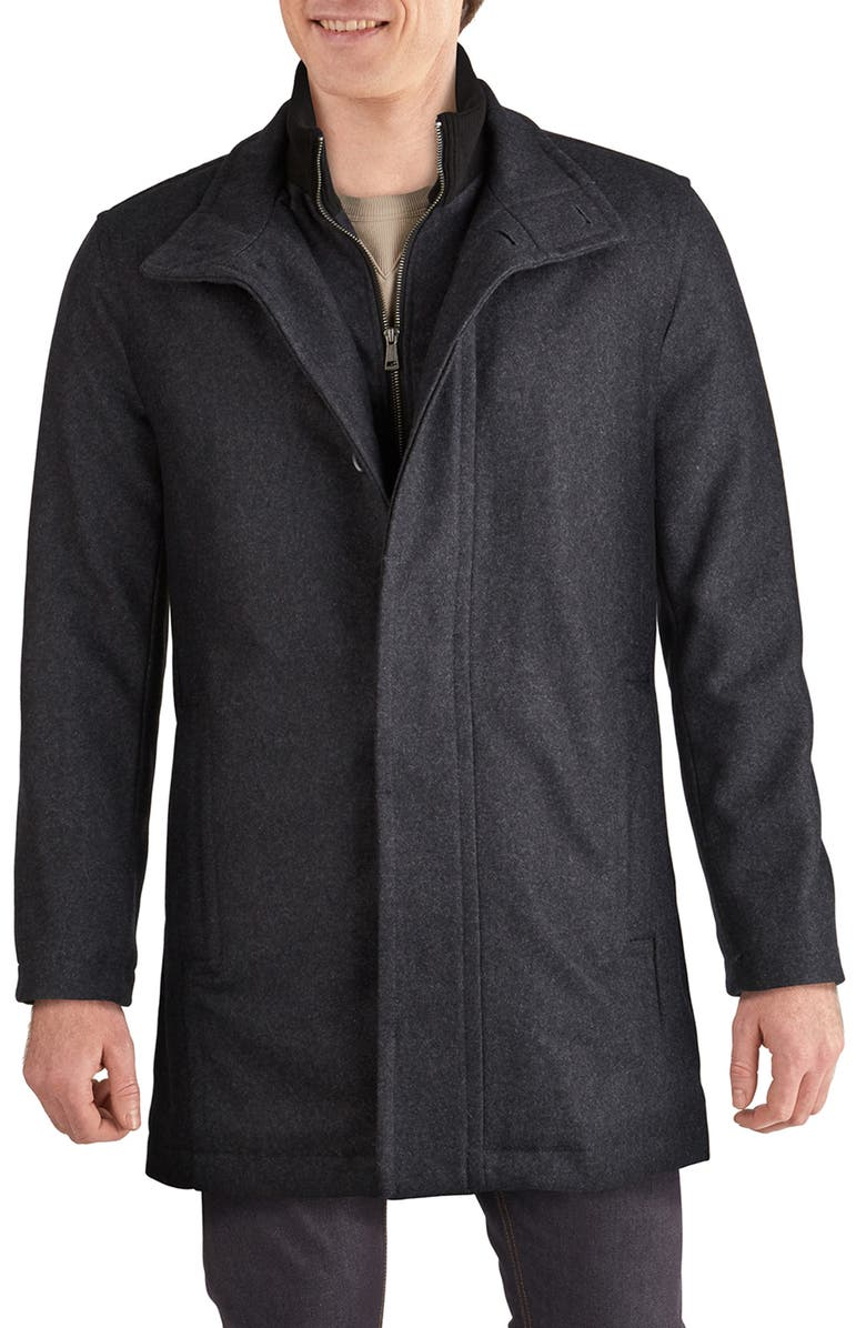 COLE HAAN SIGNATURE Melton Wool Blend Topcoat, Main, color, CHARCOAL