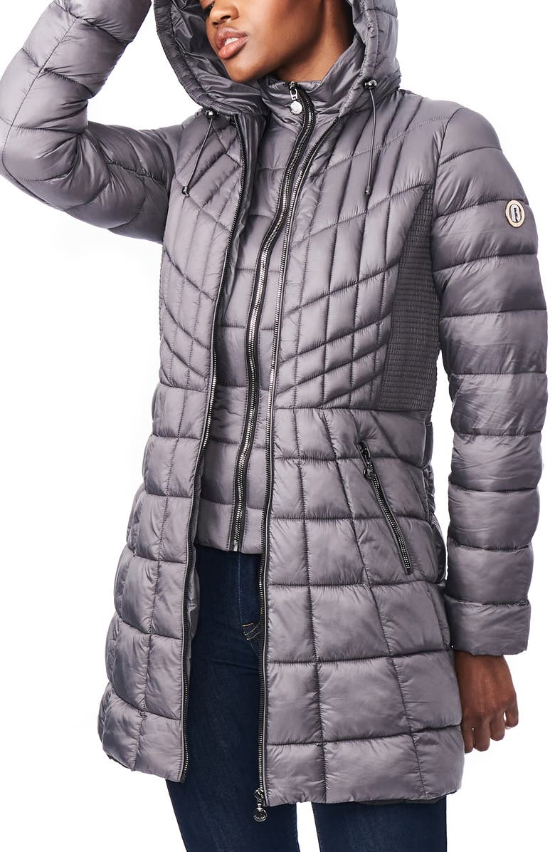 BERNARDO Packable Hooded PrimaLoft<sup>®</sup> Fill Coat with Contrast Inset Bib, Main, color, CHARCOAL
