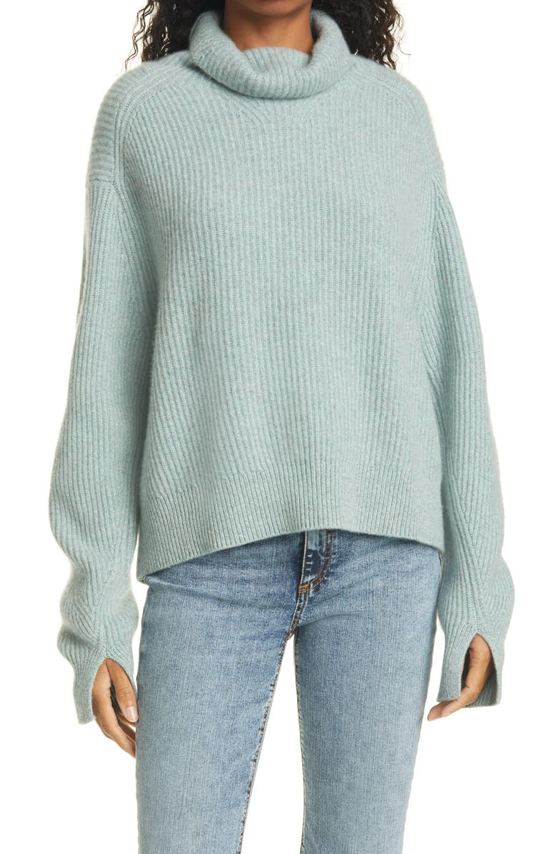 RAG & BONE Pierce Ribbed Cashmere Turtleneck Sweater, Main, color, SPRING GREEN