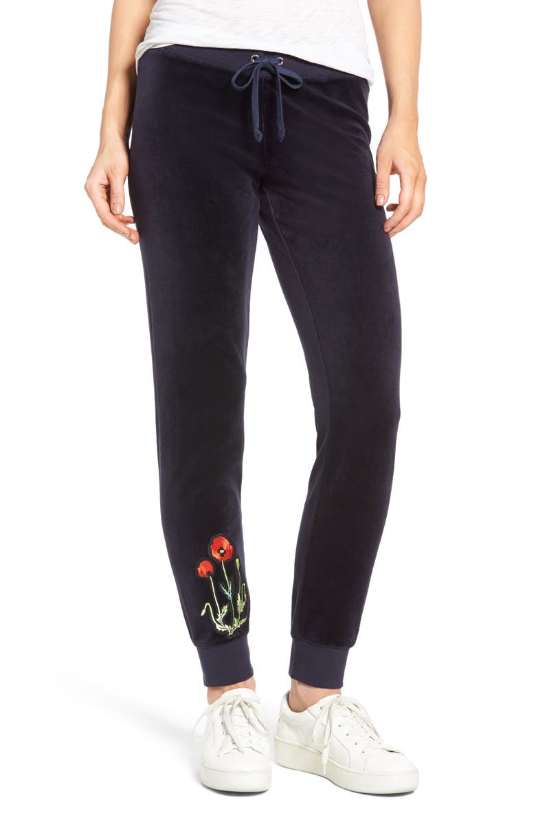 JUICY COUTURE Pretty Thing Zuma Velour Track Pants, Main, color, REGAL