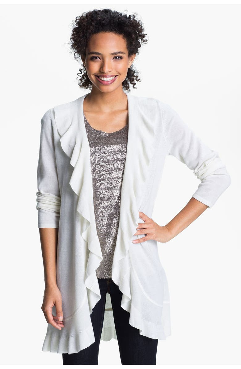 ONLY MINE Ruffle Front Cardigan, Main, color, 110