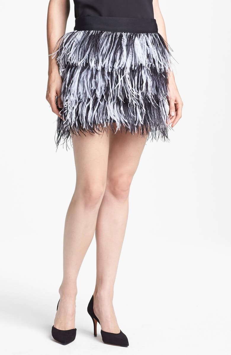 MILLY Ostrich Feather Miniskirt, Main, color, BLACK/ WHITE