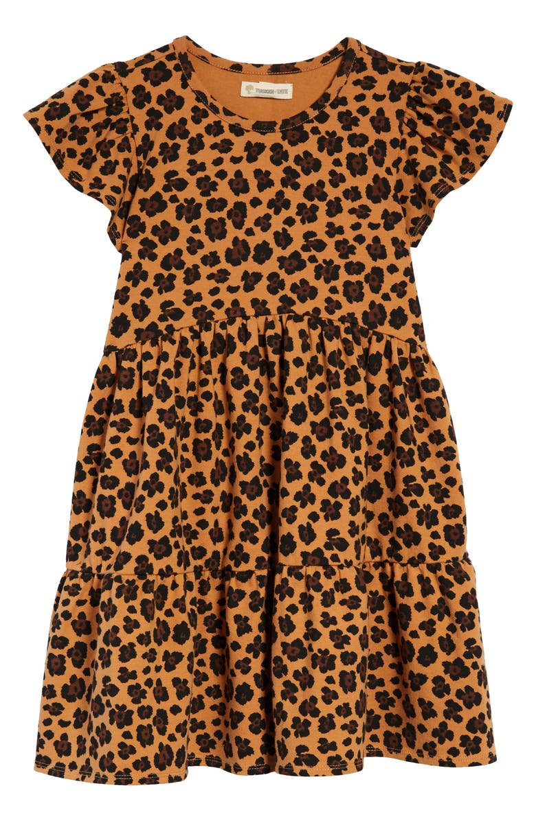 TUCKER + TATE Tiered Organic Cotton Jersey Dress, Main, color, TAN BISCUIT CHEETAH SPOTS
