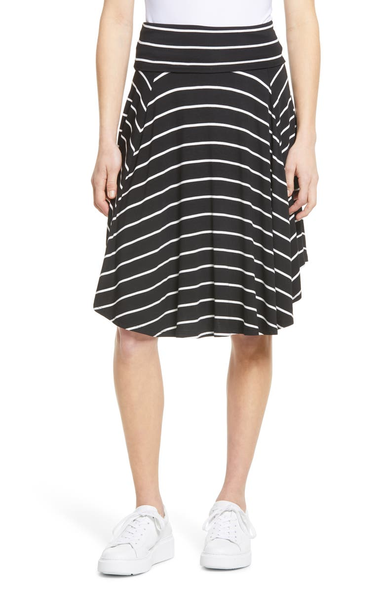 BOBEAU Circle Skirt, Main, color, BLACK/ WHITE STRIPE