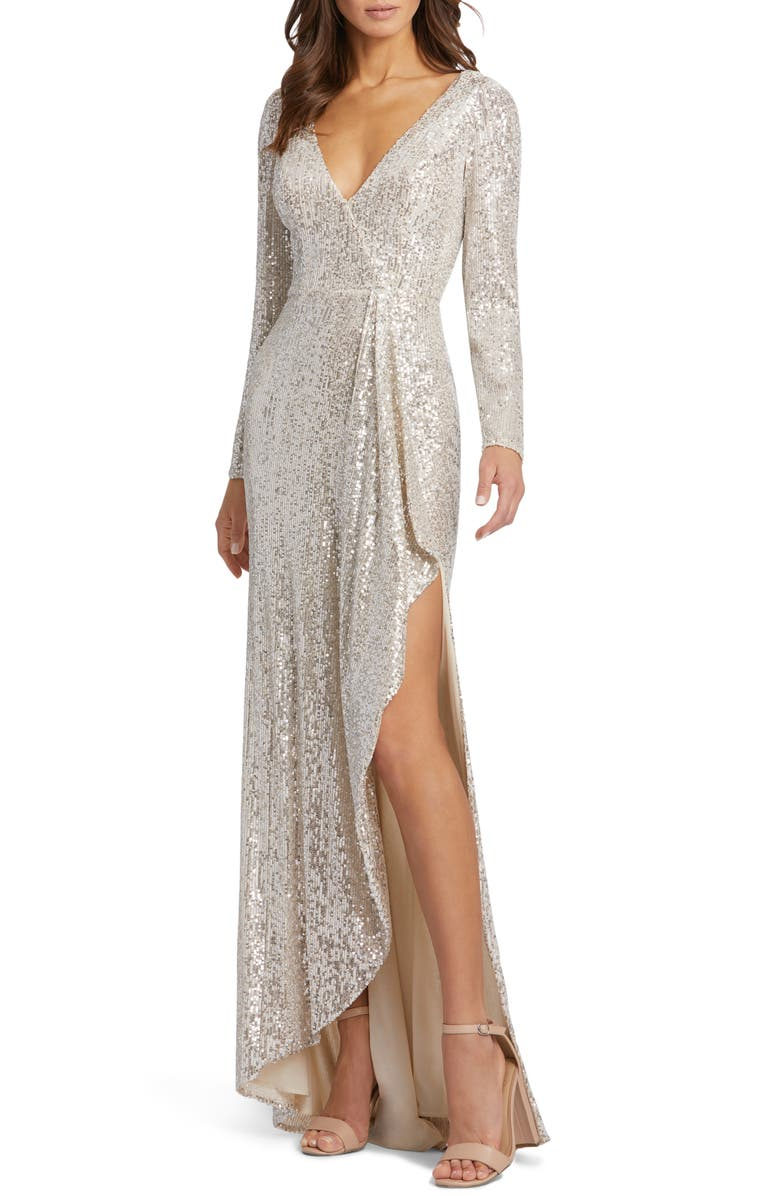 IEENA FOR MAC DUGGAL Long Sleeve Sequin Wrap Gown, Main, color, SILVER