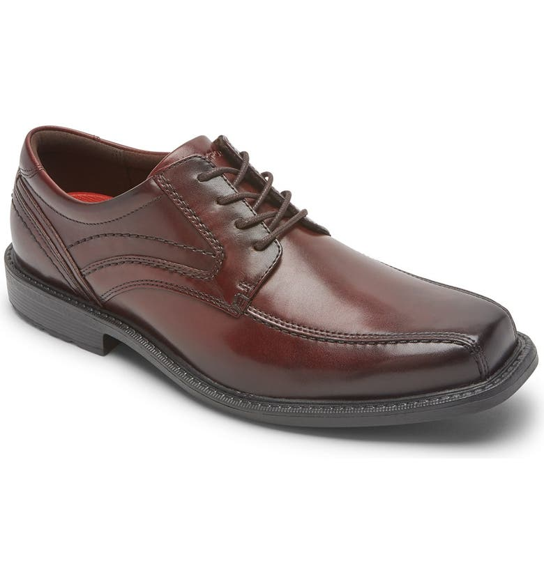 ROCKPORT Leather Bike Toe Derby - Wide Width Available, Main, color, BURGUNDY