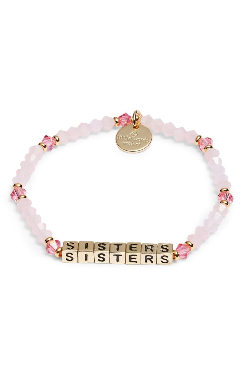 LITTLE WORDS PROJECT Little Word Project Sisters Stretch Bracelet, Main, color, PINK/ GOLD