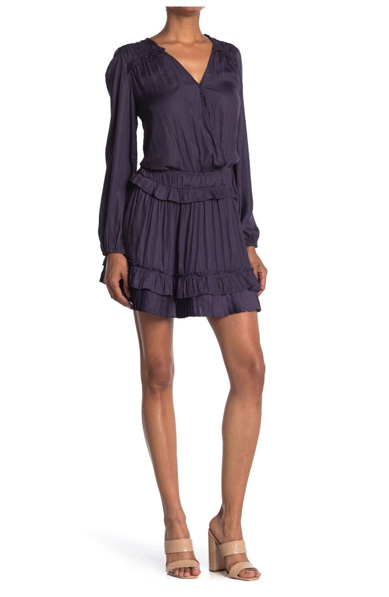 DO AND BE Tiered Ruffle Puff Sleeve Dress, Main, color, MIDNIGHT BLUE