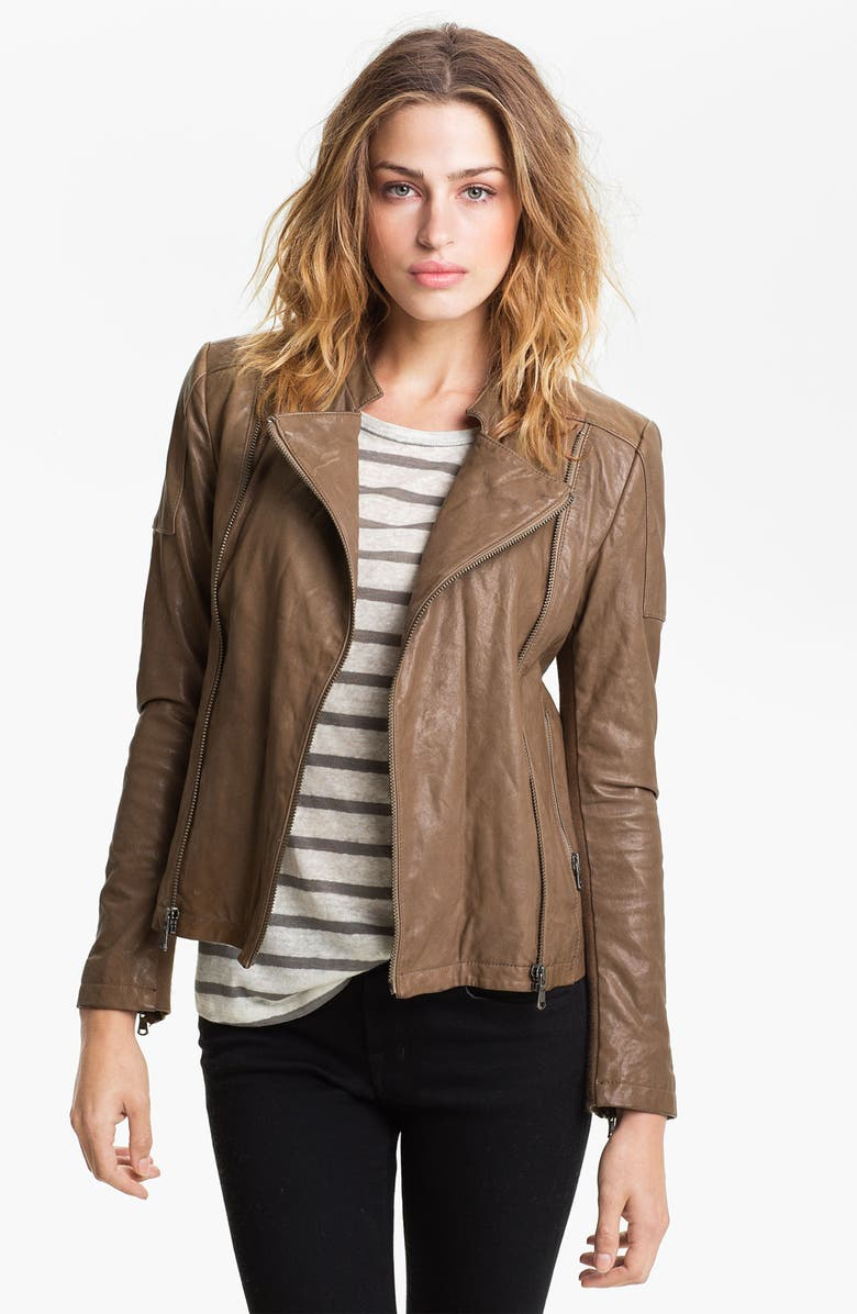 JUNE Leather Moto Jacket, Main, color, TAUPE
