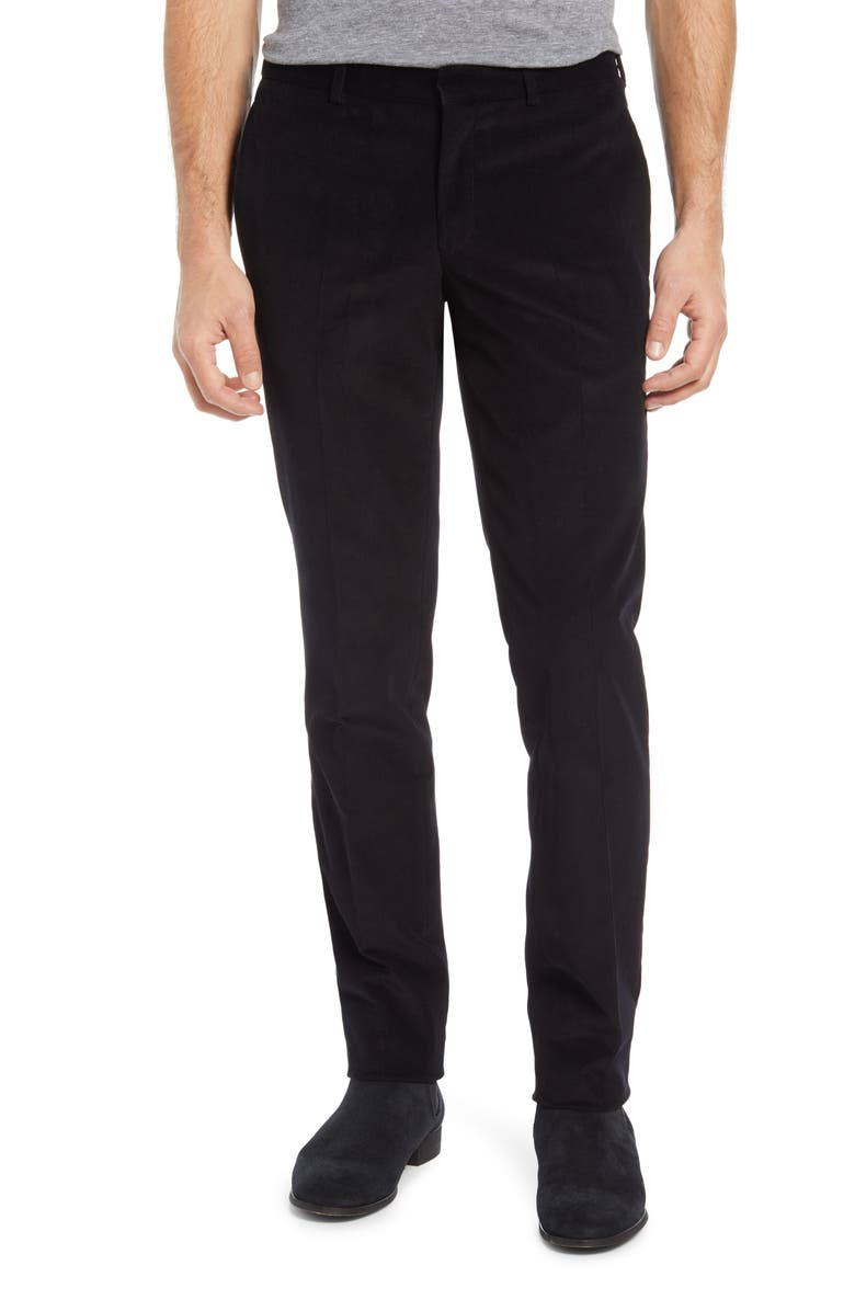 TED BAKER LONDON Rodger Extra Trim Fit Corduroy Pants, Main, color, BLACK