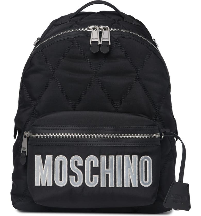 MOSCHINO Quilted Backpack, Main, color, BLACK