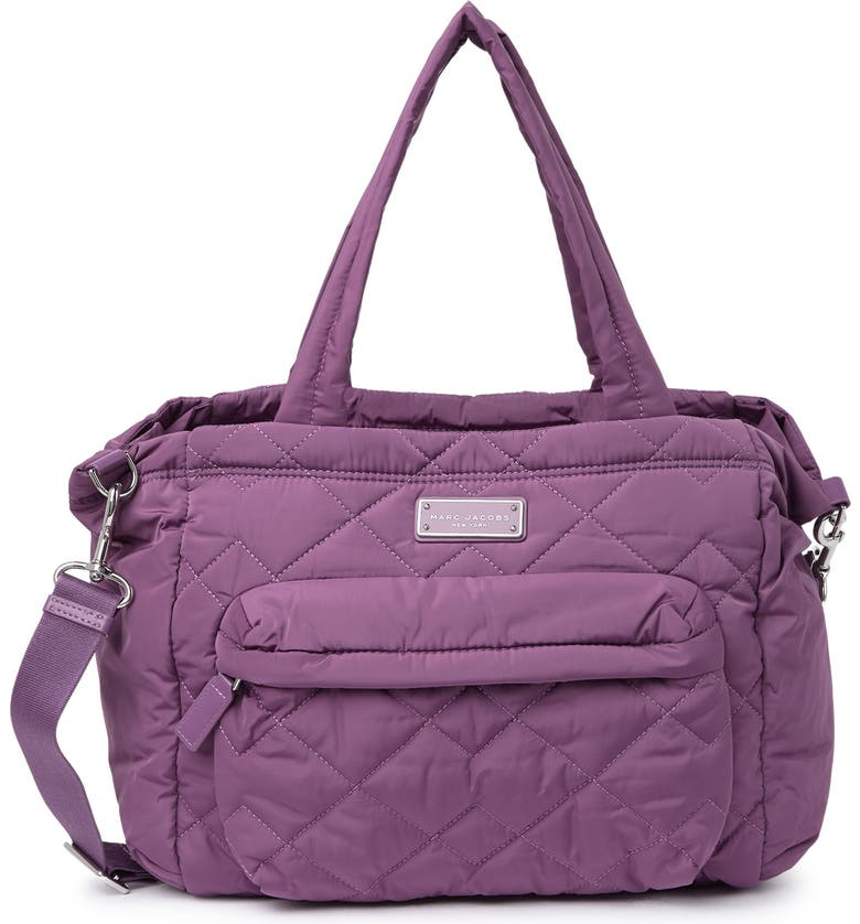 MARC JACOBS Quilted Nylon Baby Bag & Changing Pad, Main, color, PURPLE GUMDROP