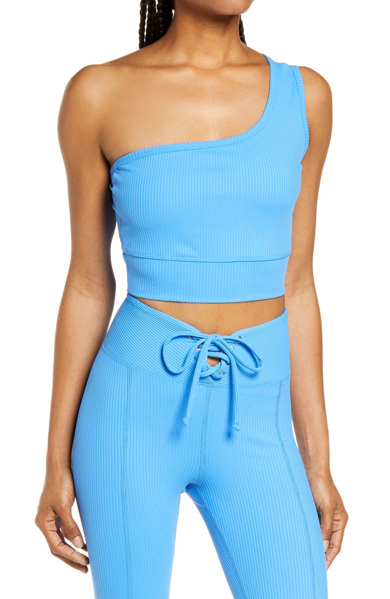 YEAR OF OURS 54 Rib One-Shoulder Sports Bra, Main, color, CLUB BLUE