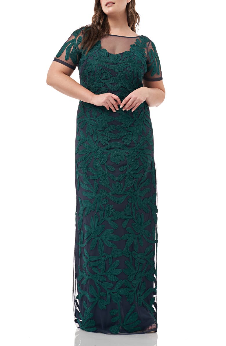 JS COLLECTIONS Illusion Soutache Column Gown, Main, color, JADE NAVY