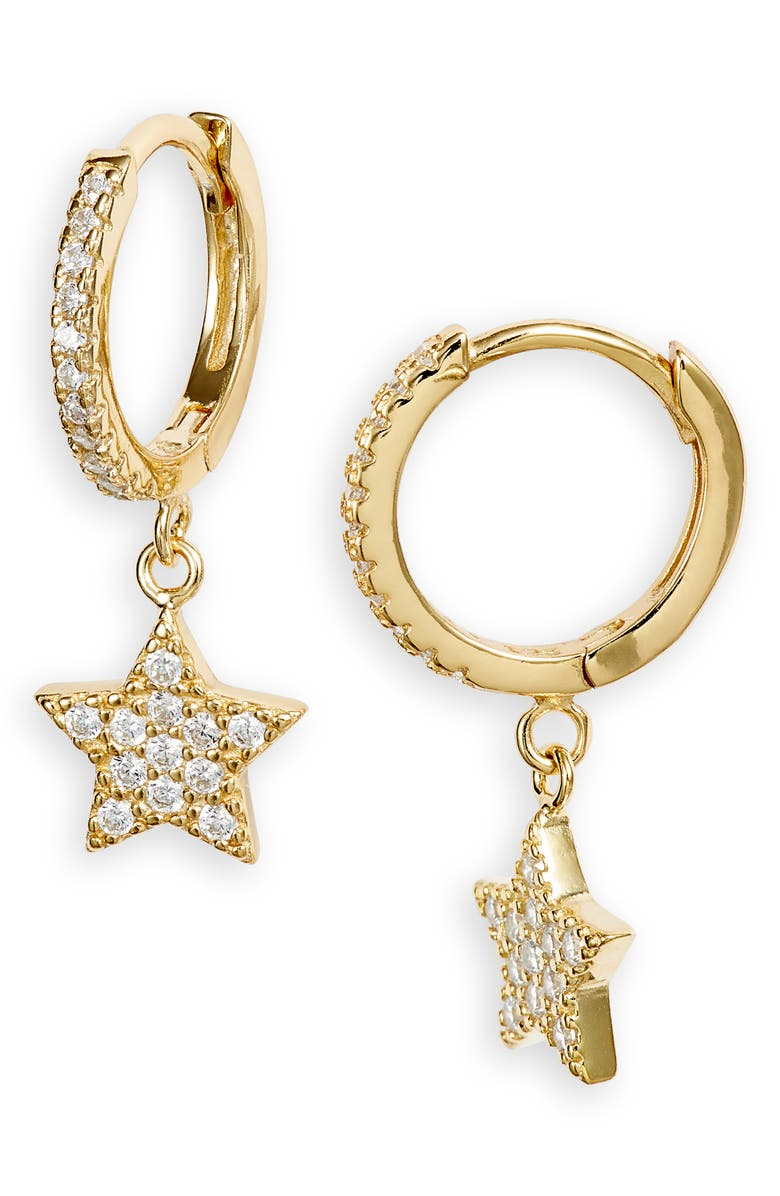 ADINA'S JEWELS Pavé Star Huggie Hoop Earrings, Main, color, 710
