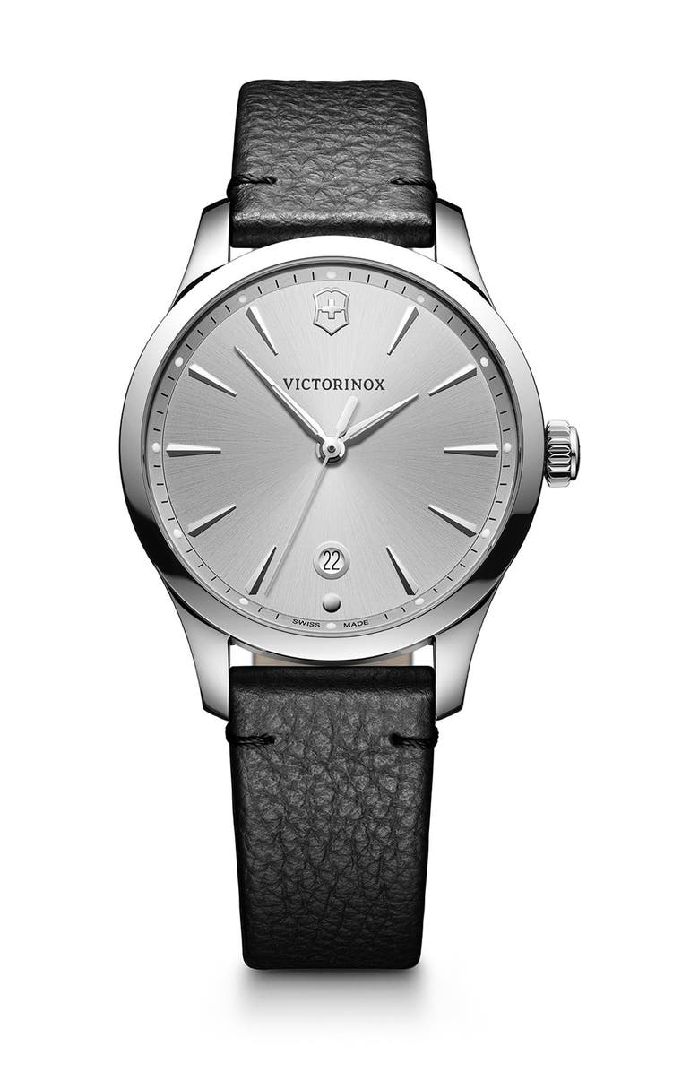 VICTORINOX SWISS ARMY Women's Alliance Leather Strap Watch, 35mm, Main, color, GRAY
