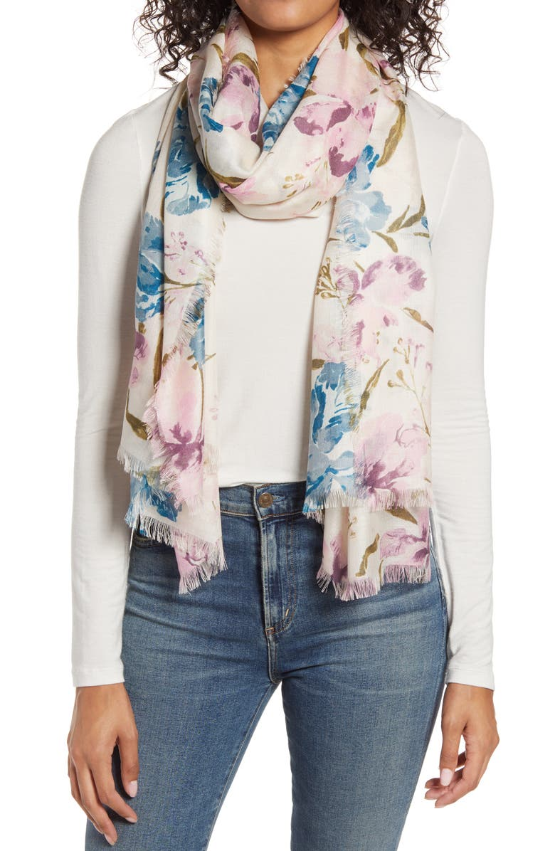 NORDSTROM Eyelash Trim Print Cashmere & Silk Wrap, Main, color, PINK MIXED FLORAL