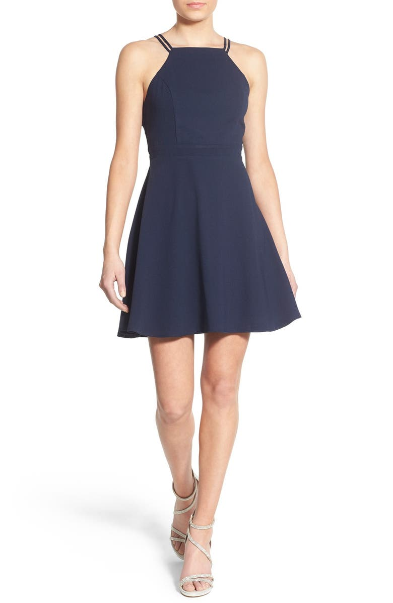 ONE CLOTHING High Neck Skater Dress, Main, color, NAVY