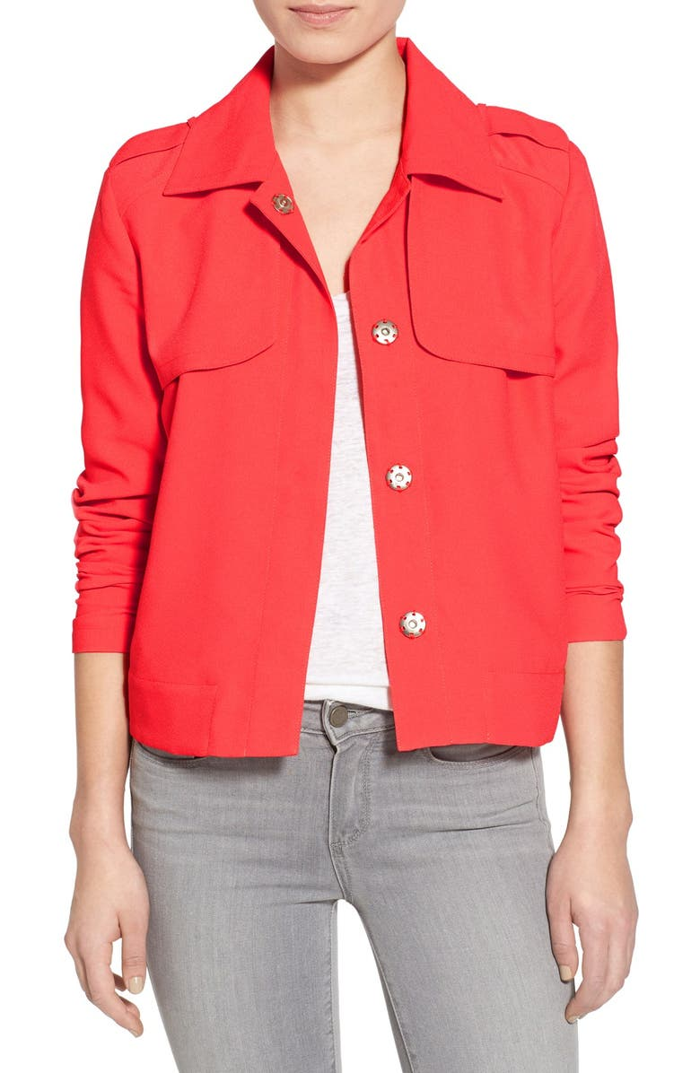 CUPCAKES AND CASHMERE 'Sumter' Satin Crepe Jacket, Main, color, 600