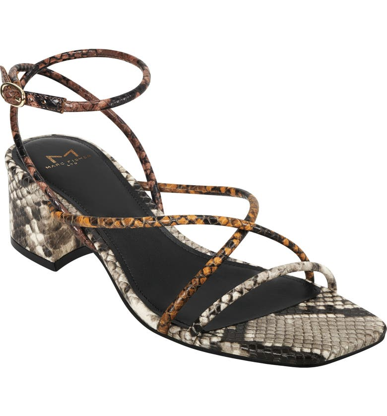 MARC FISHER LTD Jared Ankle Strap Sandal, Main, color, YELLOW SNAKE PRINT