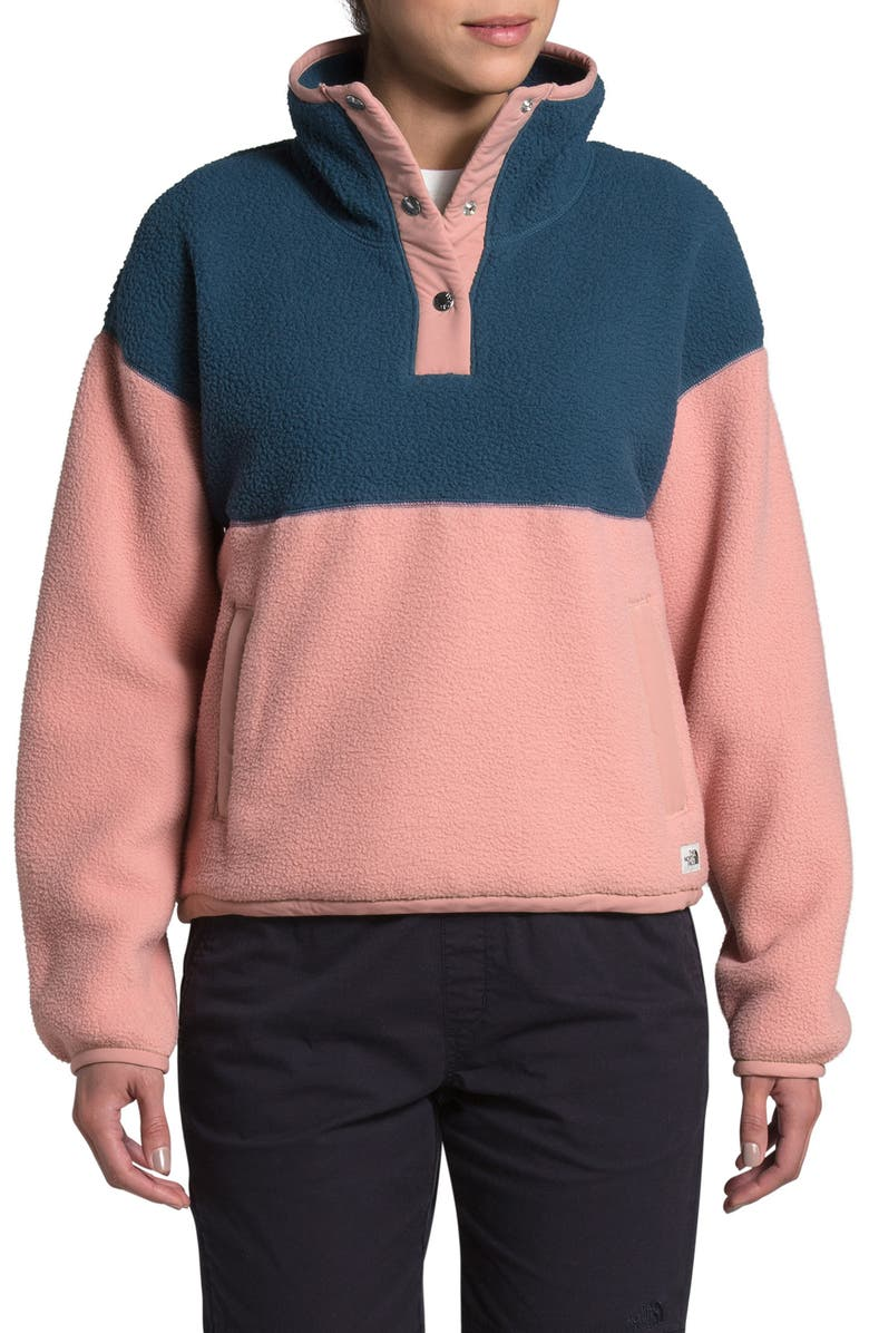 THE NORTH FACE Cragmont Fleece Pullover Jacket, Main, color, BLUE WING TEAL/PINK CLAY