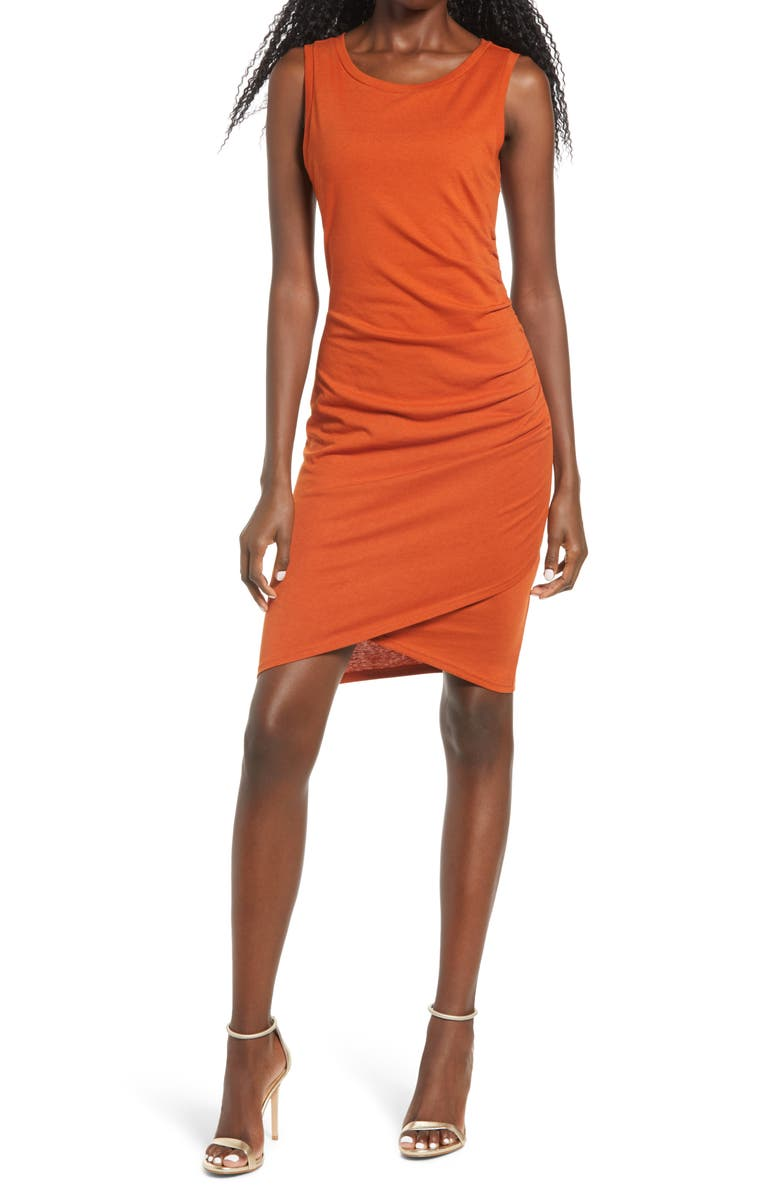 LEITH Ruched Body-Con Tank Dress, Main, color, RUST BRICK