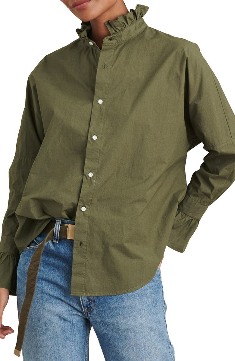 ALEX MILL Ruffle Button-Up Shirt, Main, color, DUSTY OLIVE