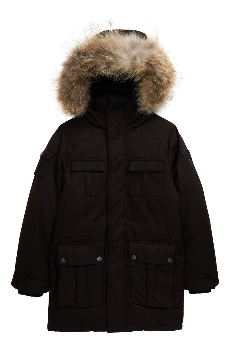 NOBIS Lil Kimmarut Hooded Down Parka with Removable Genuine Coyote Fur Trim, Main, color, 001