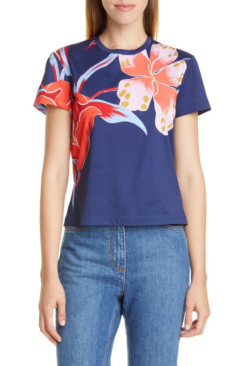 ETRO Large Floral Print Graphic Tee, Main, color, 410